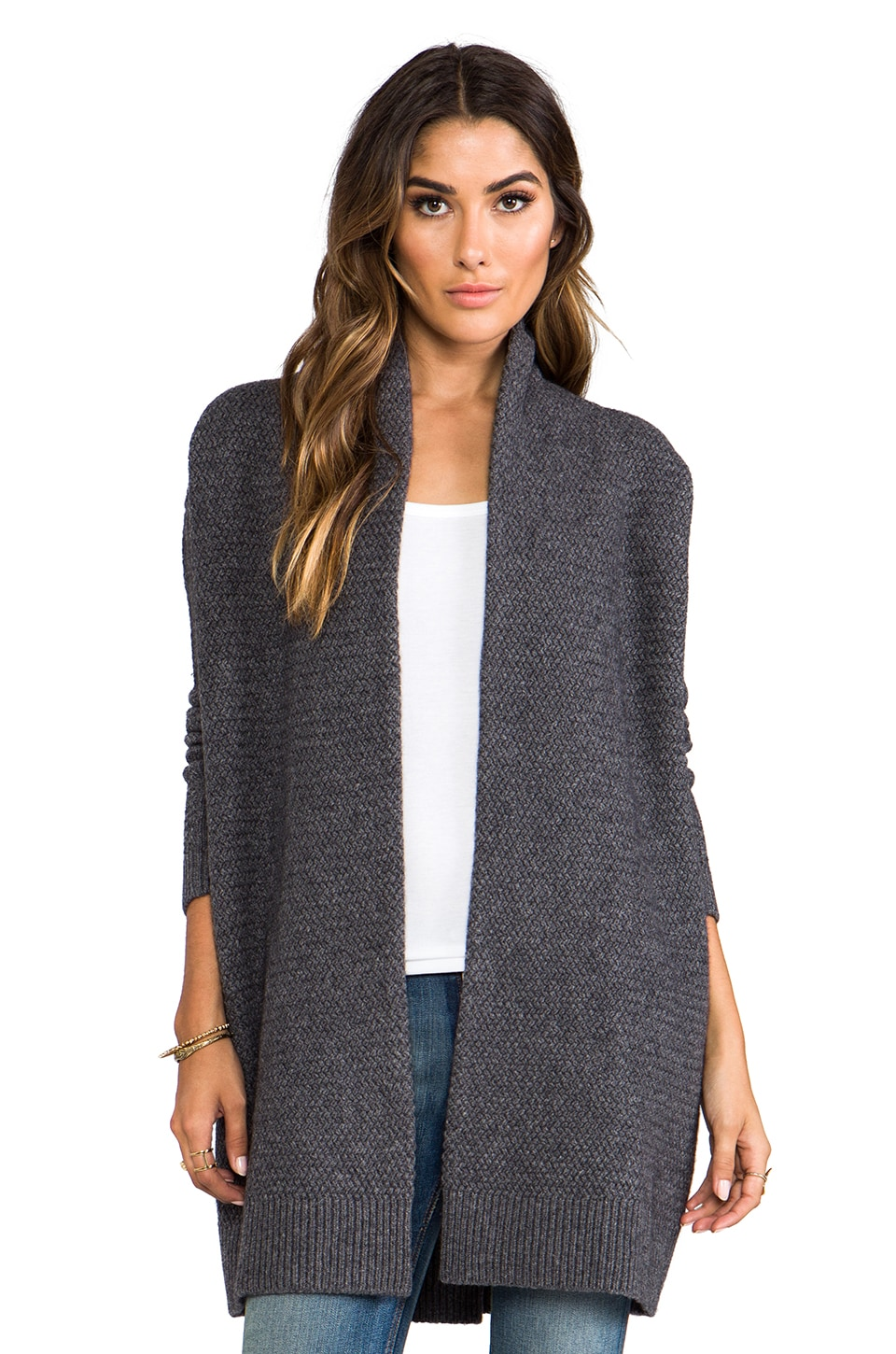 Vince Textured Drape Cardigan in Thunder