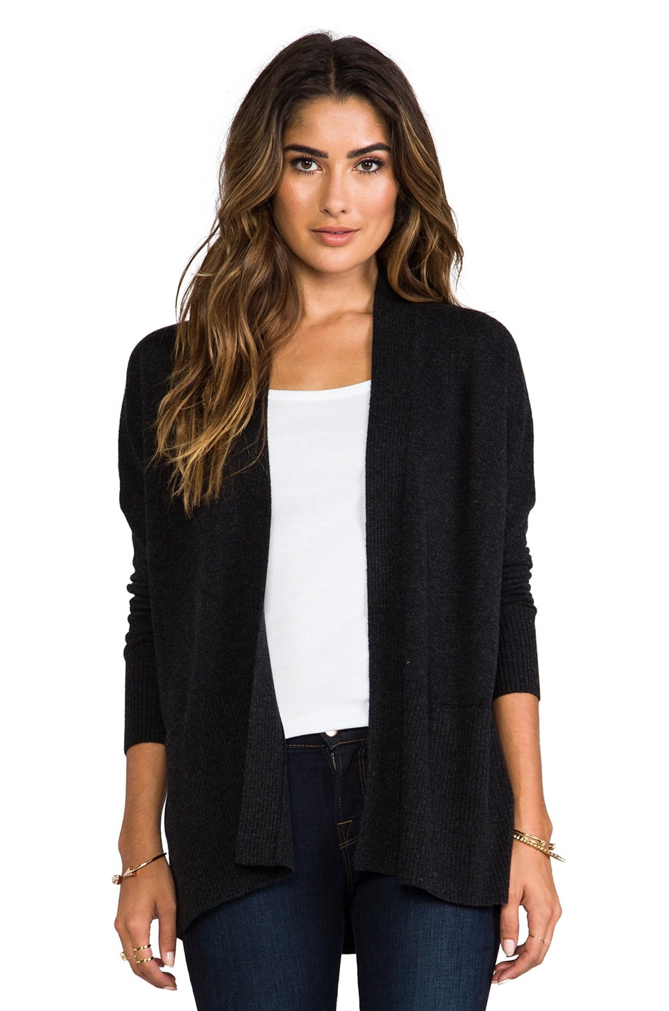 Vince Long Sleeve Ribbed Cardigan in Grey