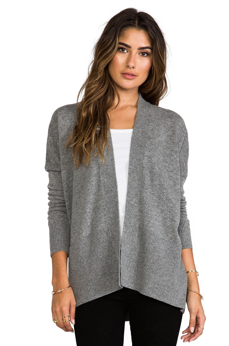 Vince Long Sleeve Ribbed Cardigan in Heather Platinum
