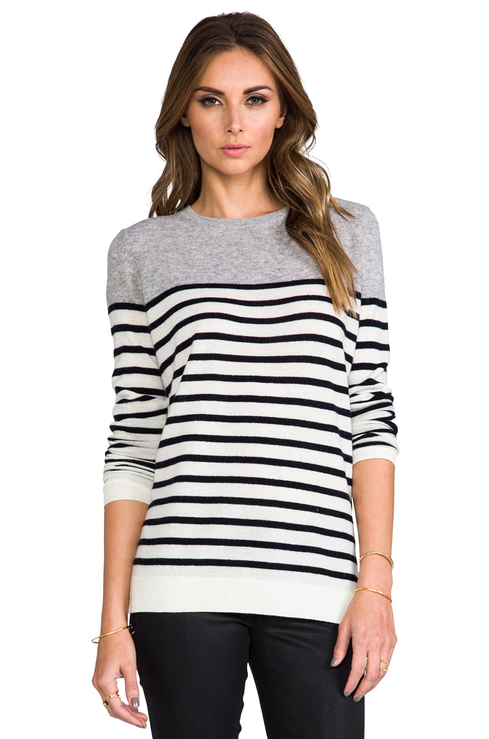 Vince Colorblock Breton Stripe Cashmere Sweater in Heather Steel