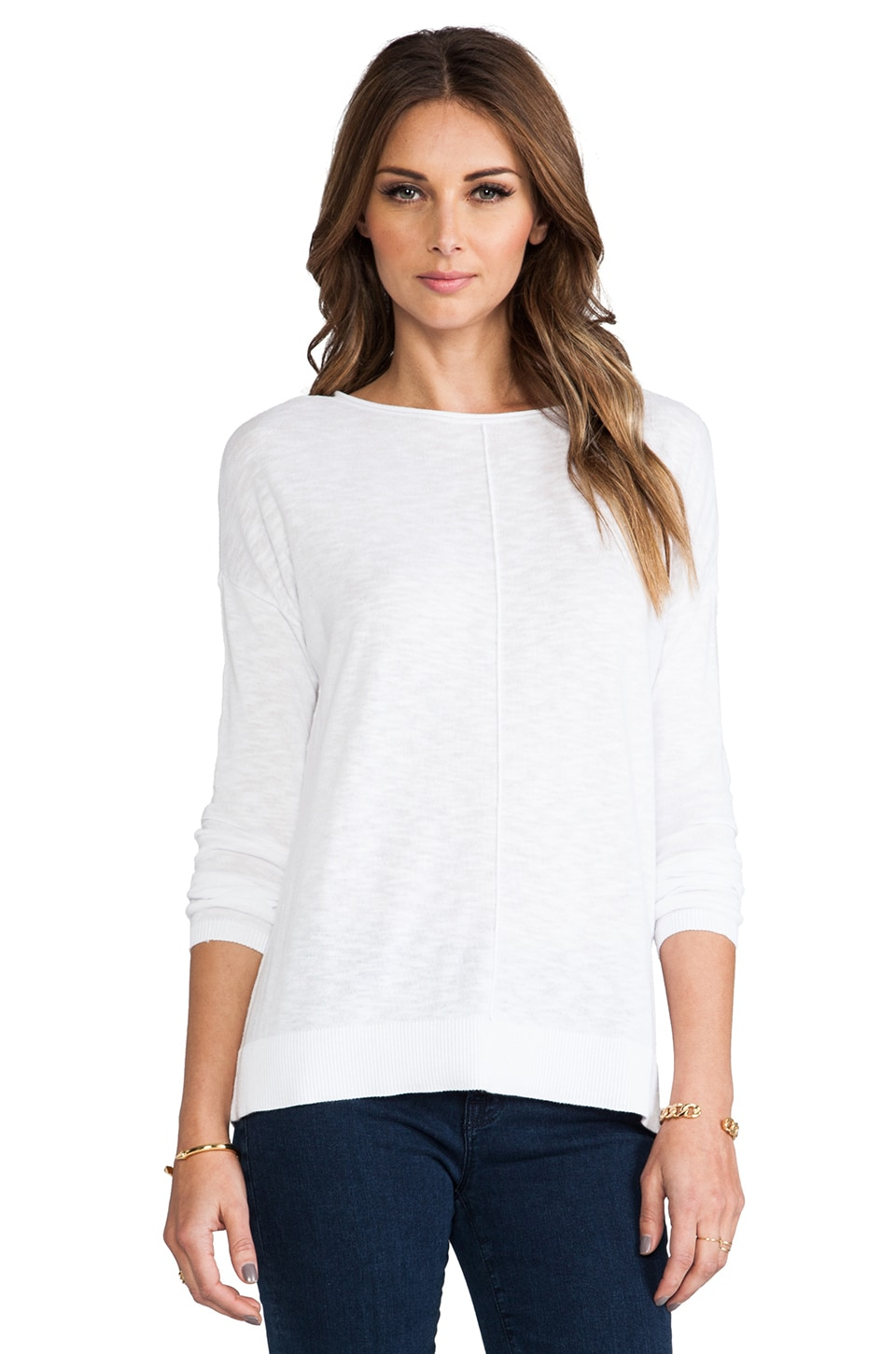 Vince Cotton Roll Neck Sweater in Optic White