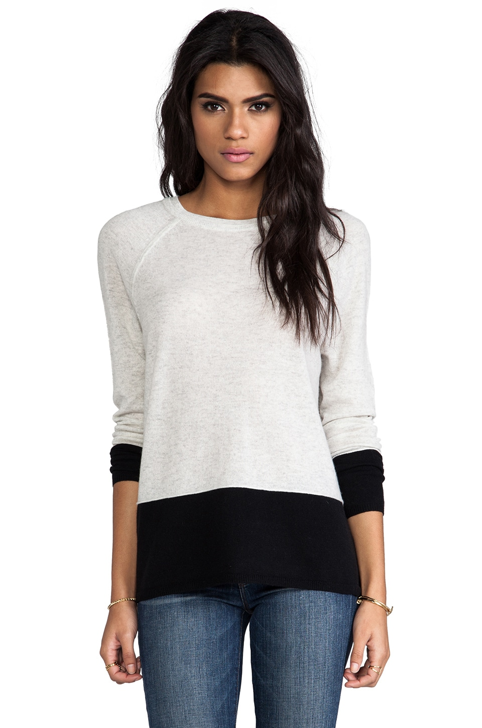 Vince Colorblock Luxe Cashmere Sweater in Heather Cloud & Black