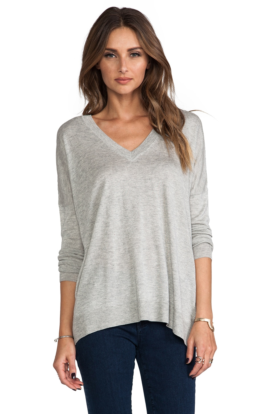 Vince Double V-Neck Sweater in Heather Grey