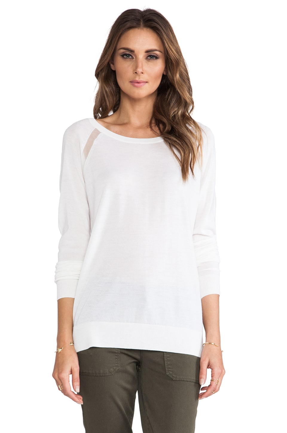 Vince Sheer Raglan Sweater in Milk