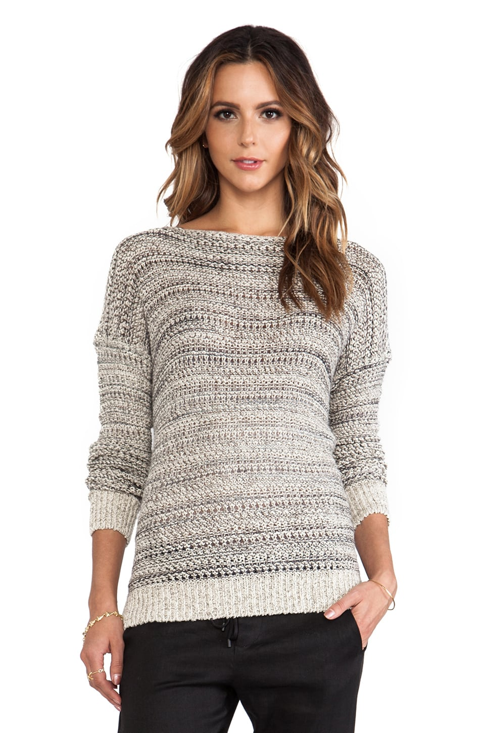 Vince Drop Shoulder Sweater in Teak Mix