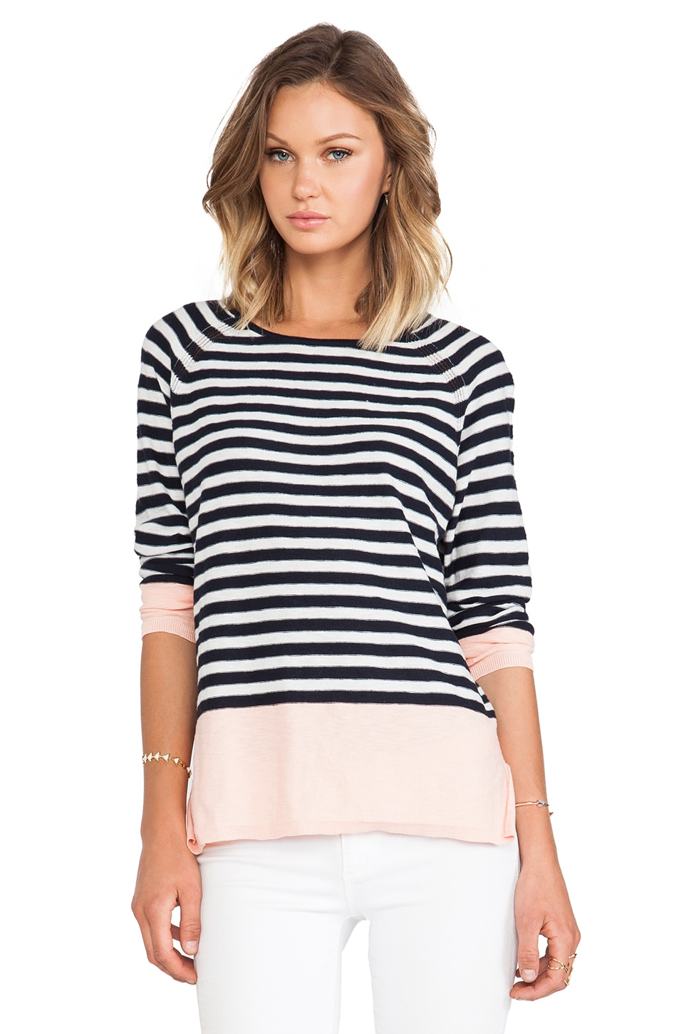 Vince Colorblocked Striped Raglan Sweater in Grapefruit Combo