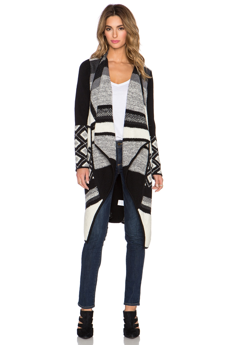 Vince Graphic Texture Cardigan in Black & Off White