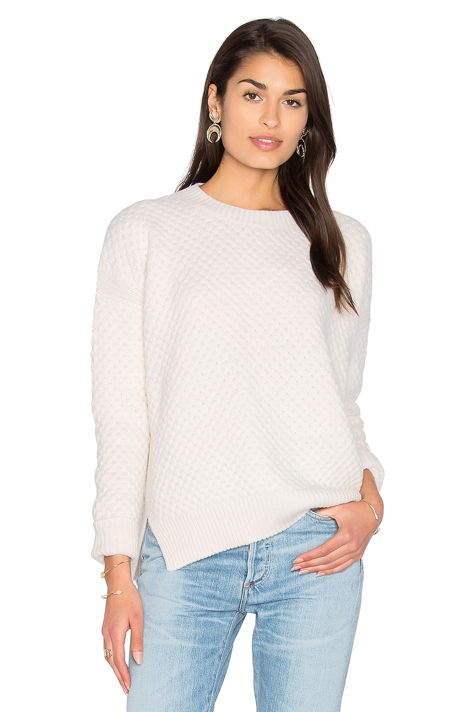 Vince Honeycomb Crew Neck Sweater in Winter White | REVOLVE