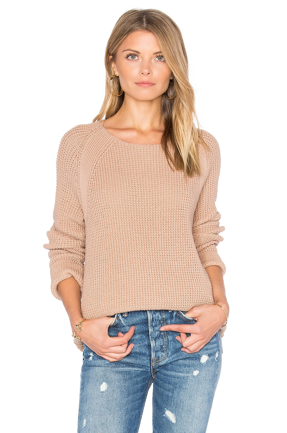 Vince Waffle Stitch Pullover in Pink Cantare