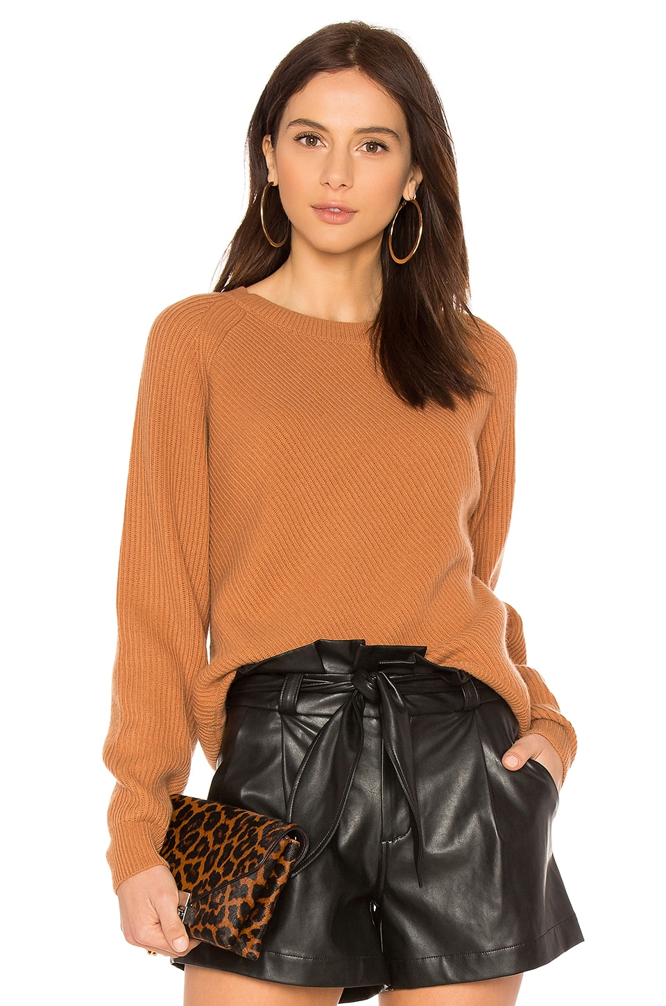 Vince Diagonal Rib Crew Neck in Adobe | REVOLVE