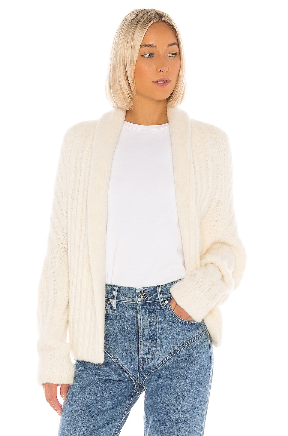 Vince Textured Shawl Cardigan in Off White