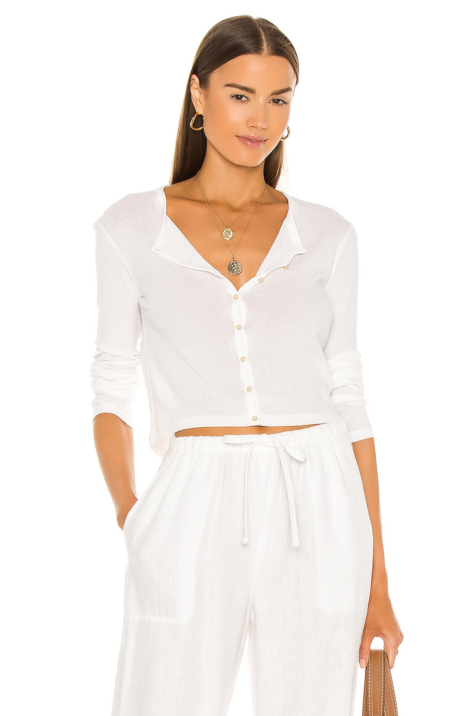 Vince Long Sleeve Cropped Cardigan in Optic White