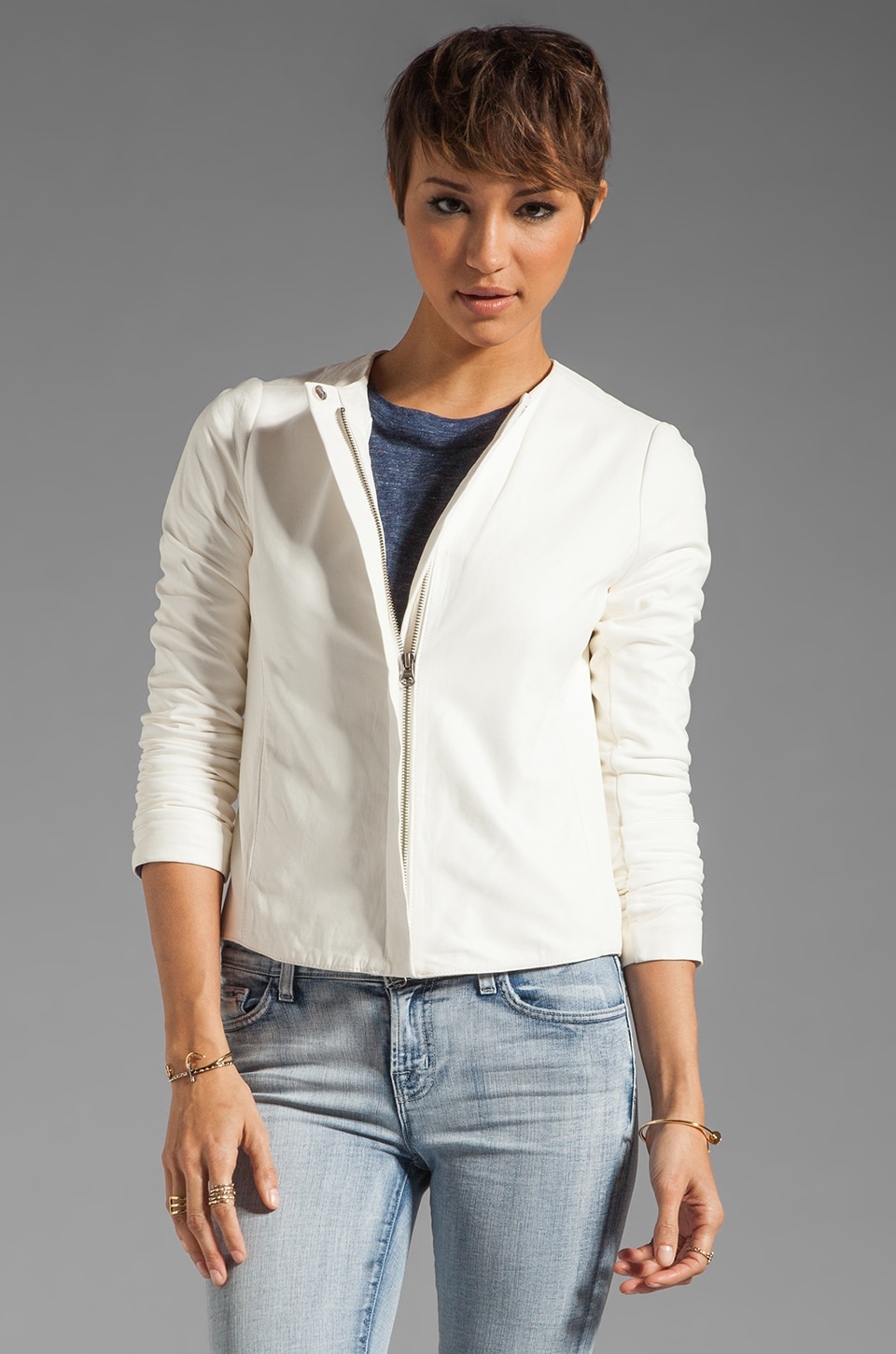 Vince Leather Jacket in White