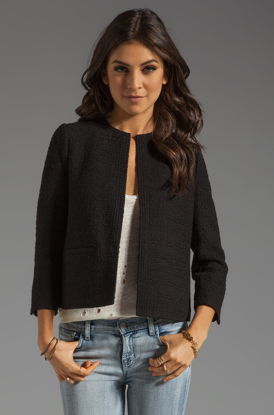Vince Wool Blend Cropped Jacket in Black
