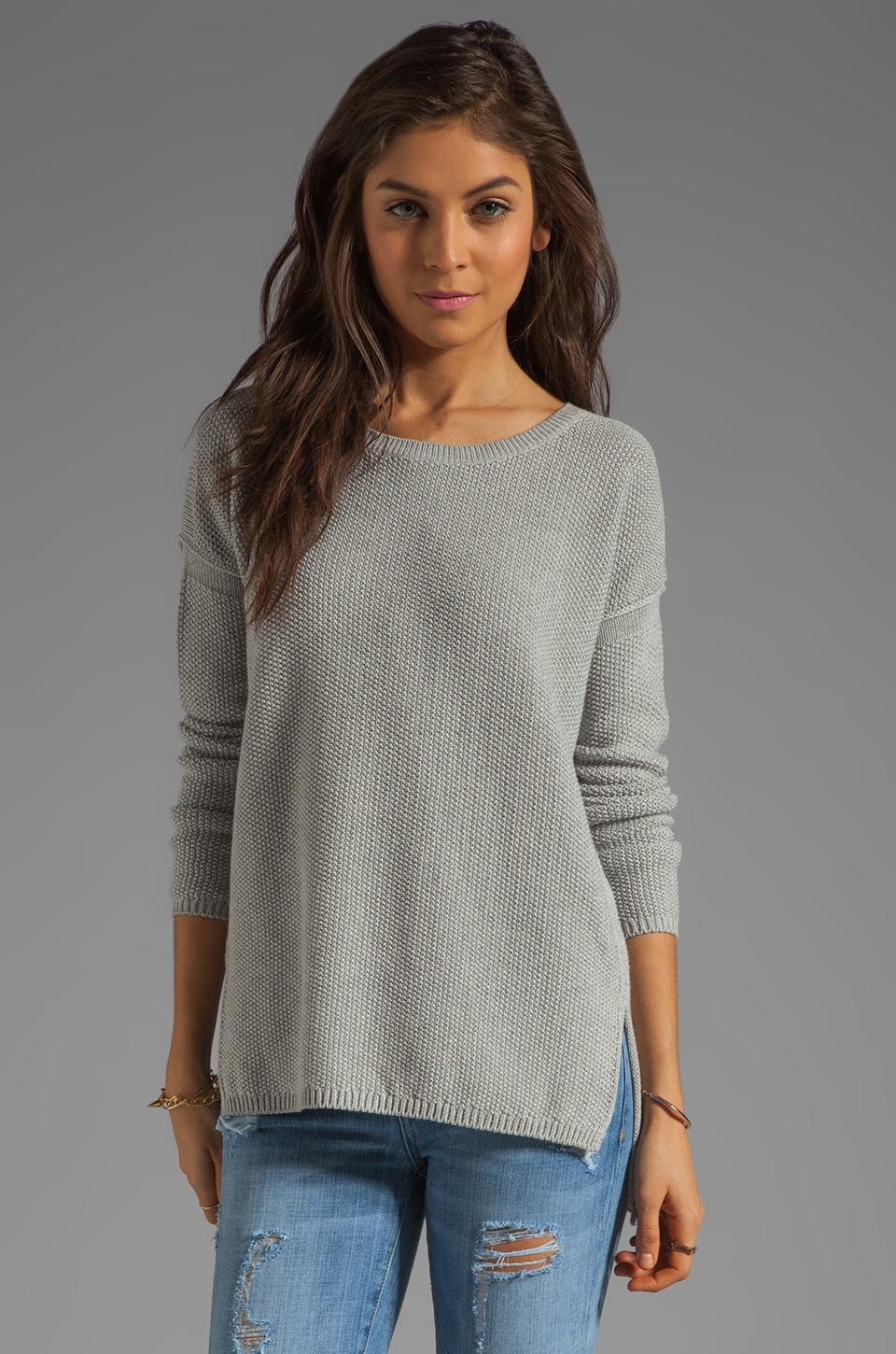Vince Seed Stitch Stretch Crew Sweater in Lt. Grey