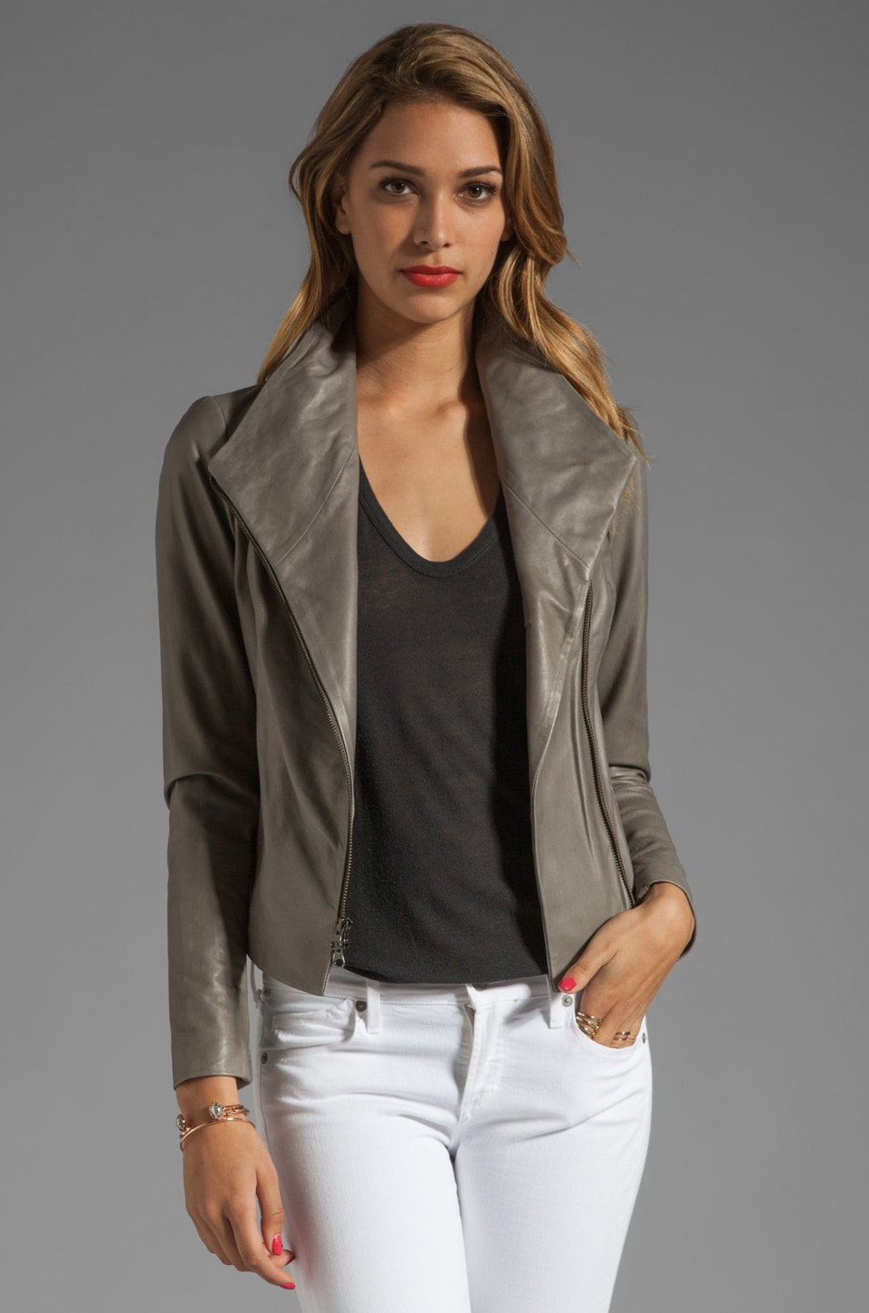 Vince Lamb Leather Jacket in Sage
