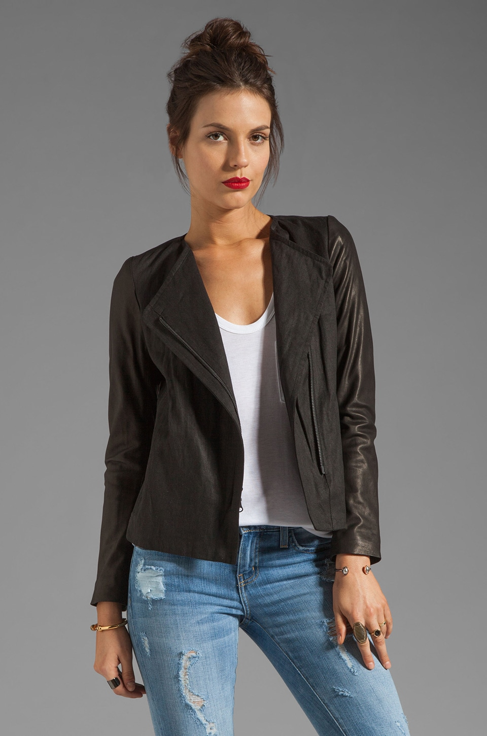 Vince Lamb Leather Sleeve Asymmetric Jacket in Black