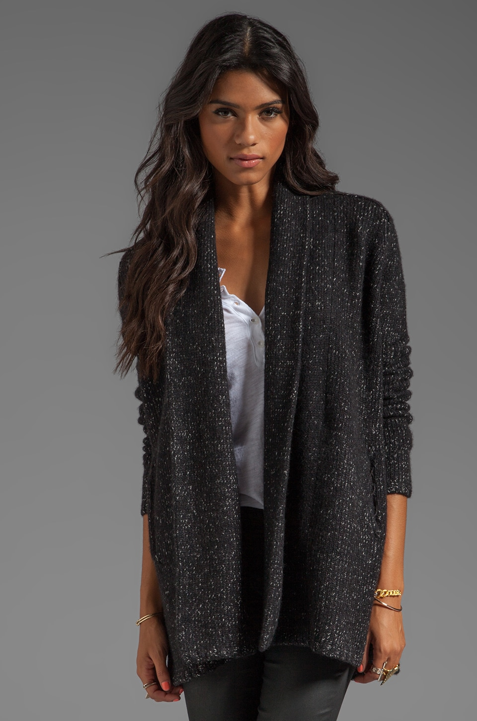 Vince Tweed Coat in Black