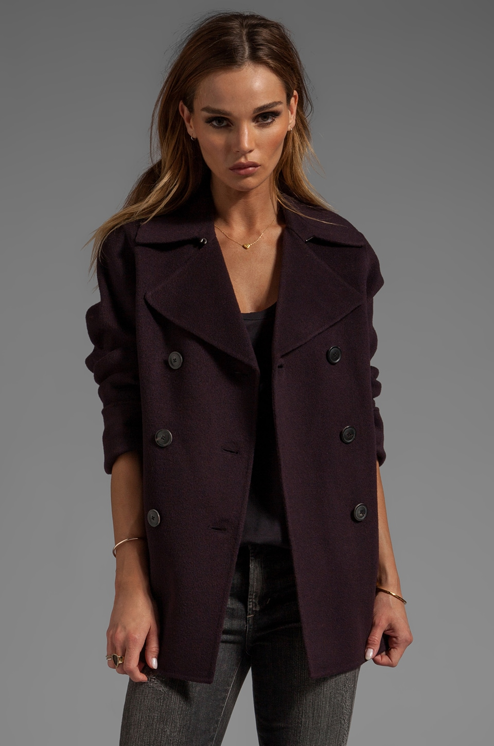 Vince Peacoat in Mulberry