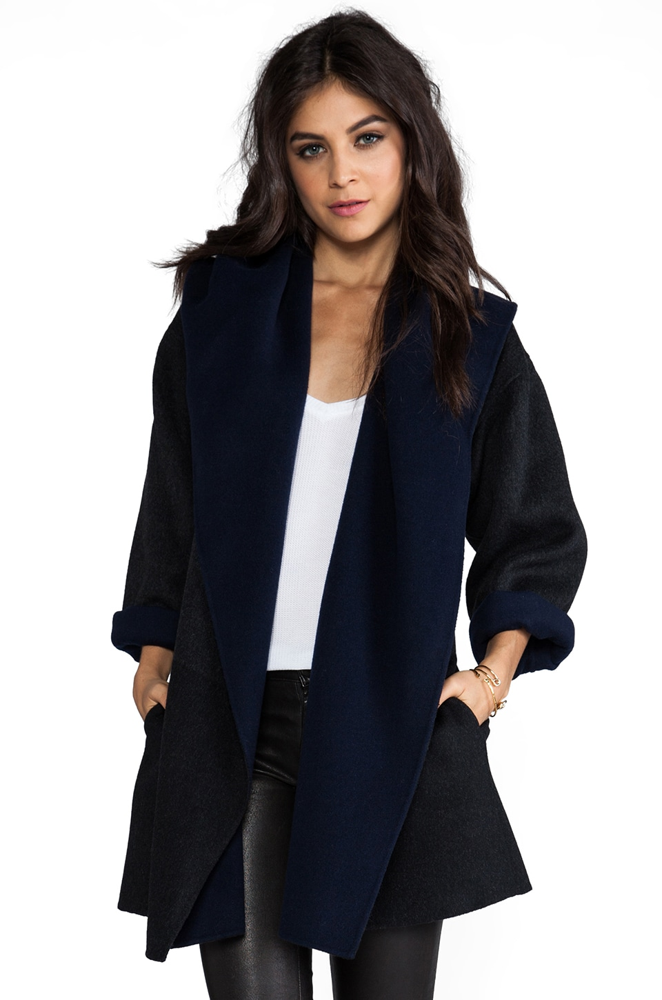 Vince Colorblock Coat in Heather Charcoal