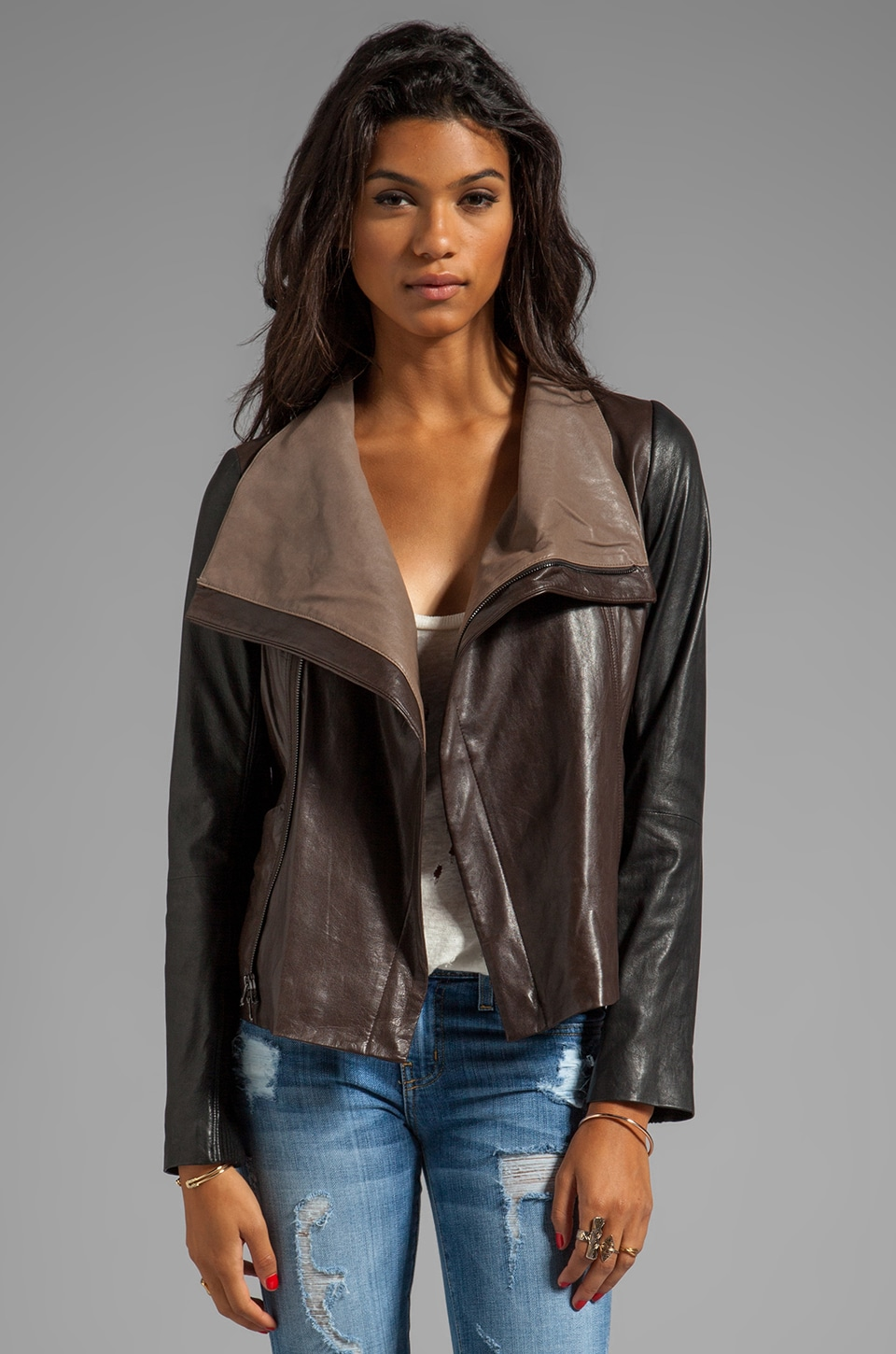 Vince Leather Colorblock Jacket in Espresso/Black/Oak