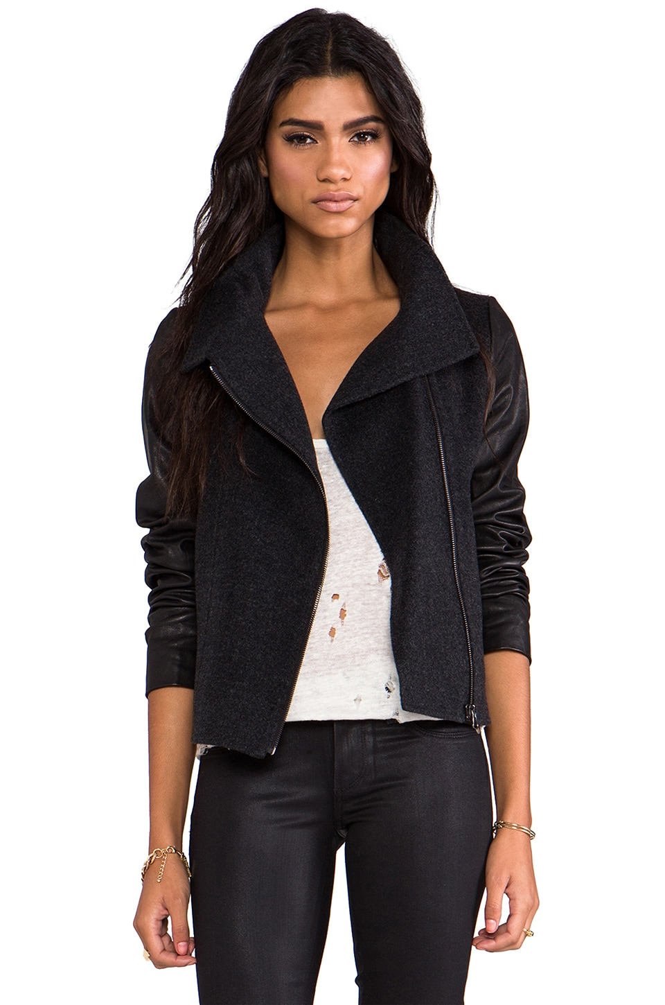 Vince Funnel Neck Jacket with Leather Sleeves in Charcoal
