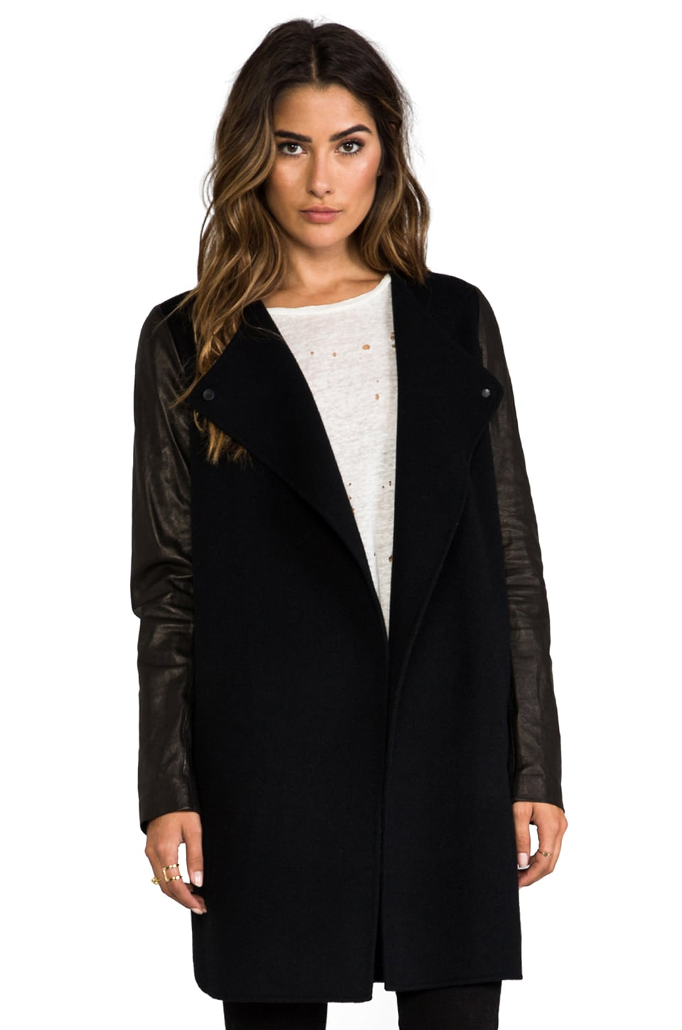 Vince Double Face Wool Coat with Leather Sleeves in Black