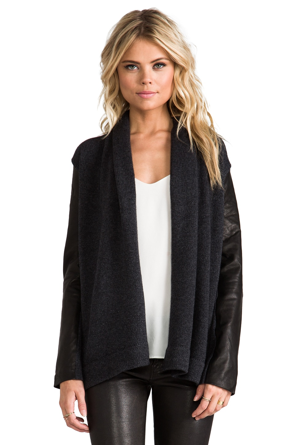 Vince Leather Sleeve Draped Jacket in Dark Slate