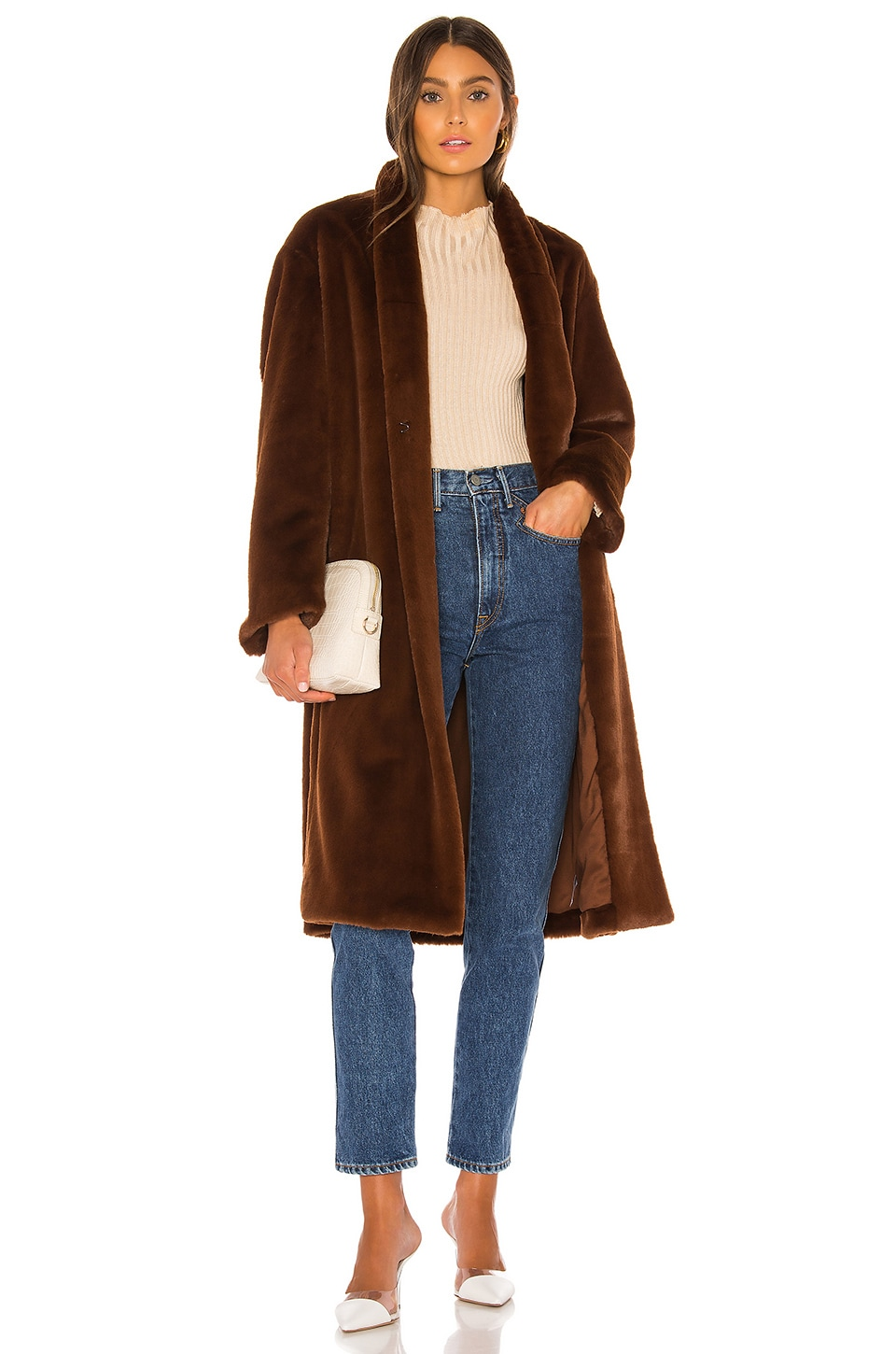 Vince Long Plush Coat in Mahogany