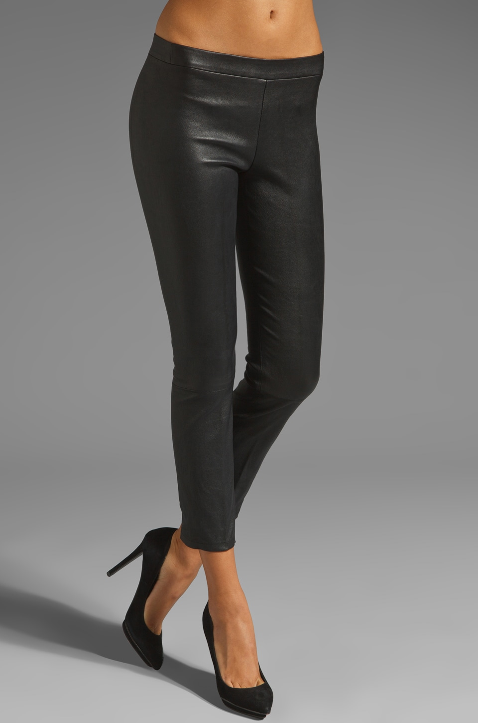 Vince Leather Cropped Legging in Black