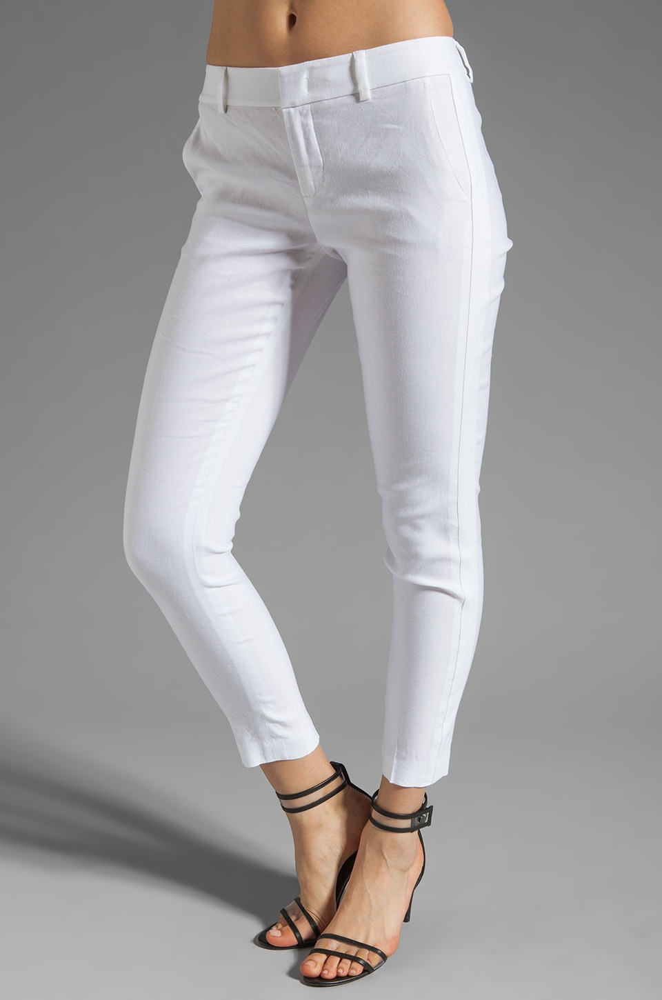 Vince Linen Sportswear Solid Strapping Pant in White