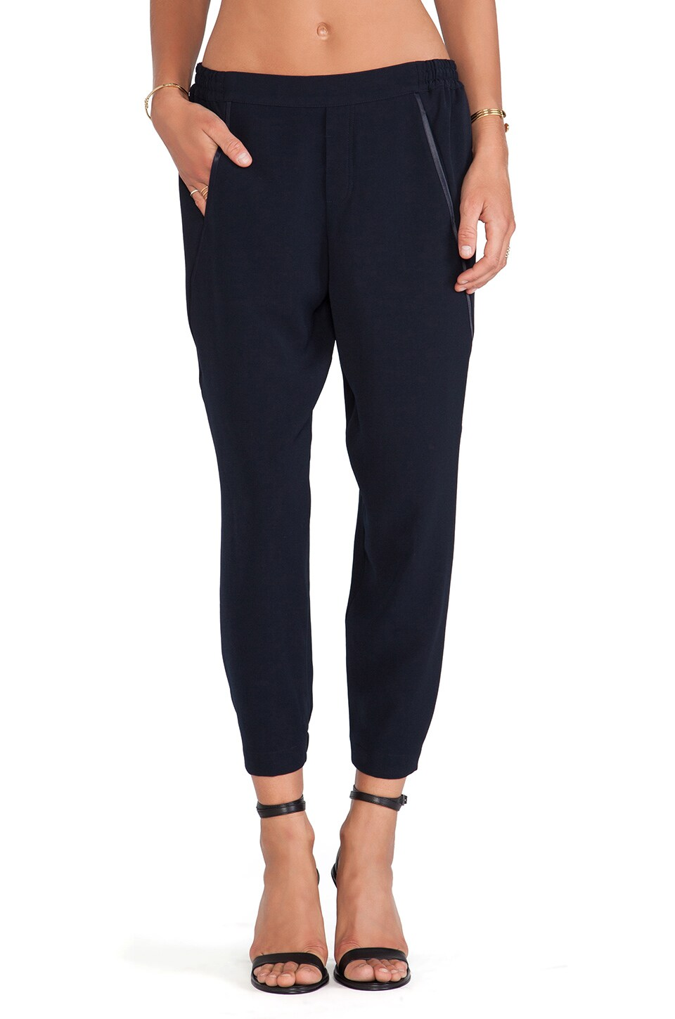 Vince Satin Piped Wrap Seam Pant in Coastal