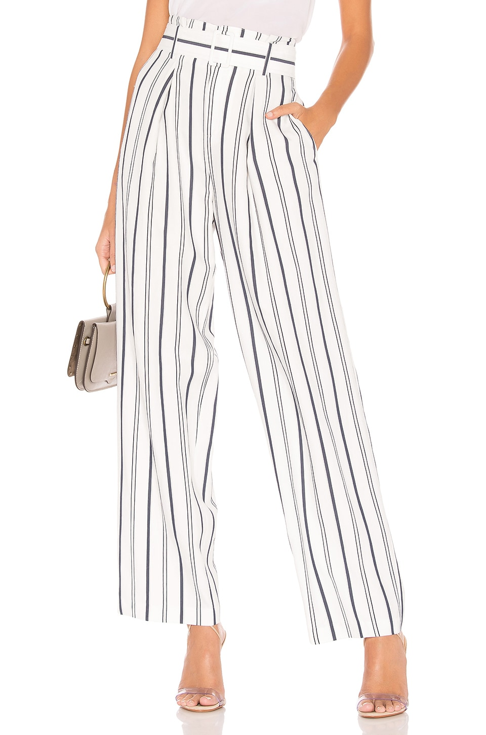 Vince Dobby Stripe Belted Pant in Off White