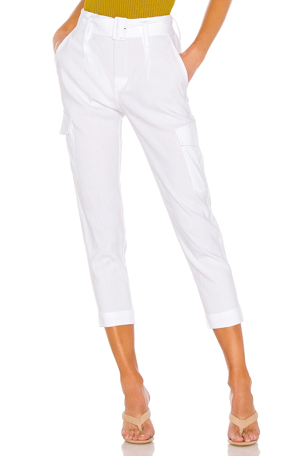 Vince Belted Linen Pant in Optic White