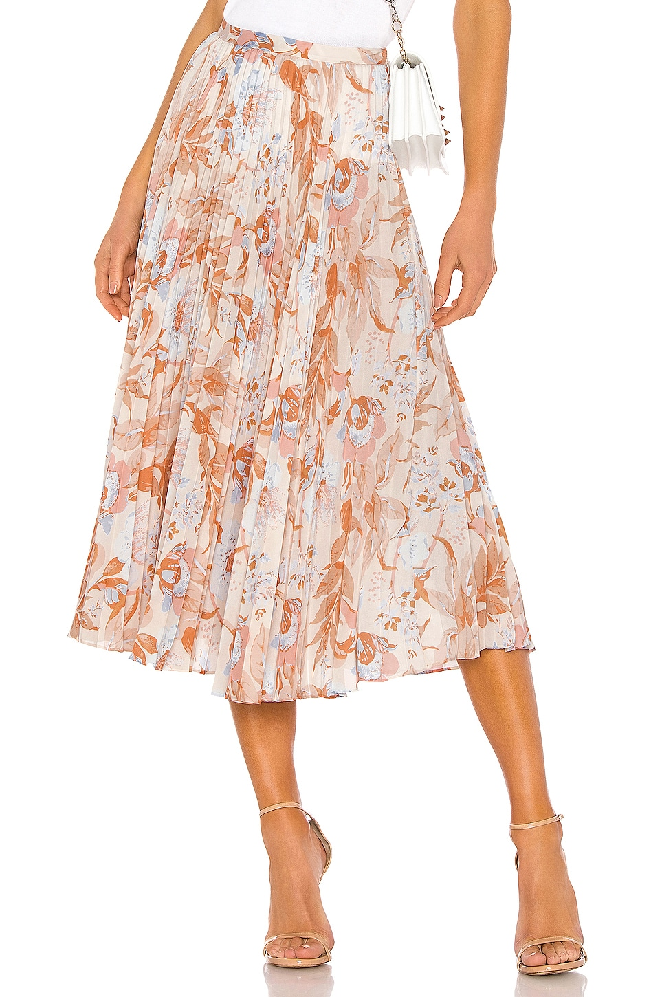 Vince Marine Garden Pleated Skirt in Tangerine