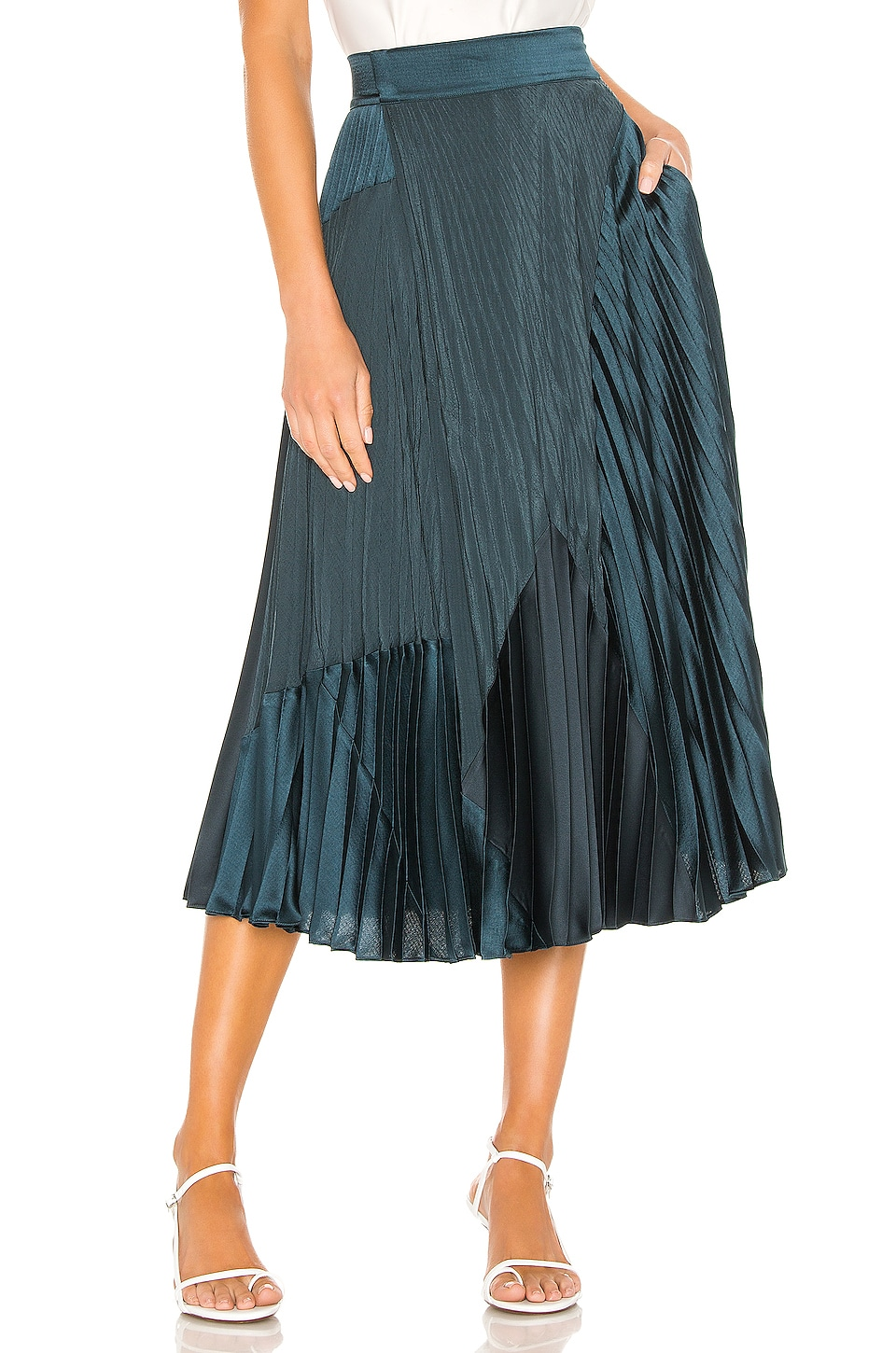 Vince Mixed Media Pleated Skirt in Carpinteria