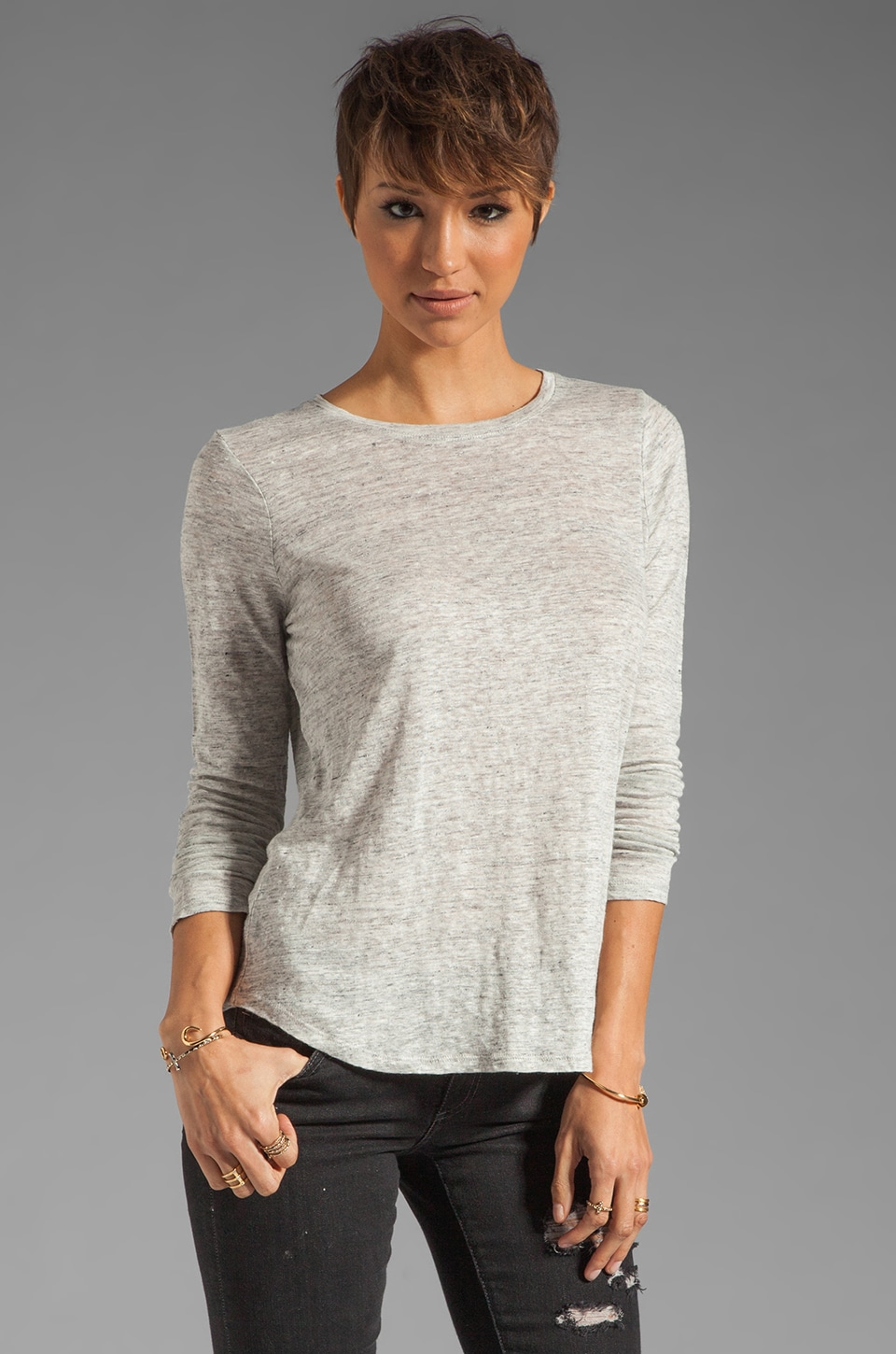 Vince Long Sleeve Shirt Tail Tee in Light Heather Grey