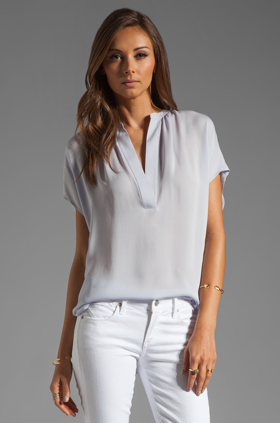 Vince Silk Cap Sleeve Popover Top in Lilac