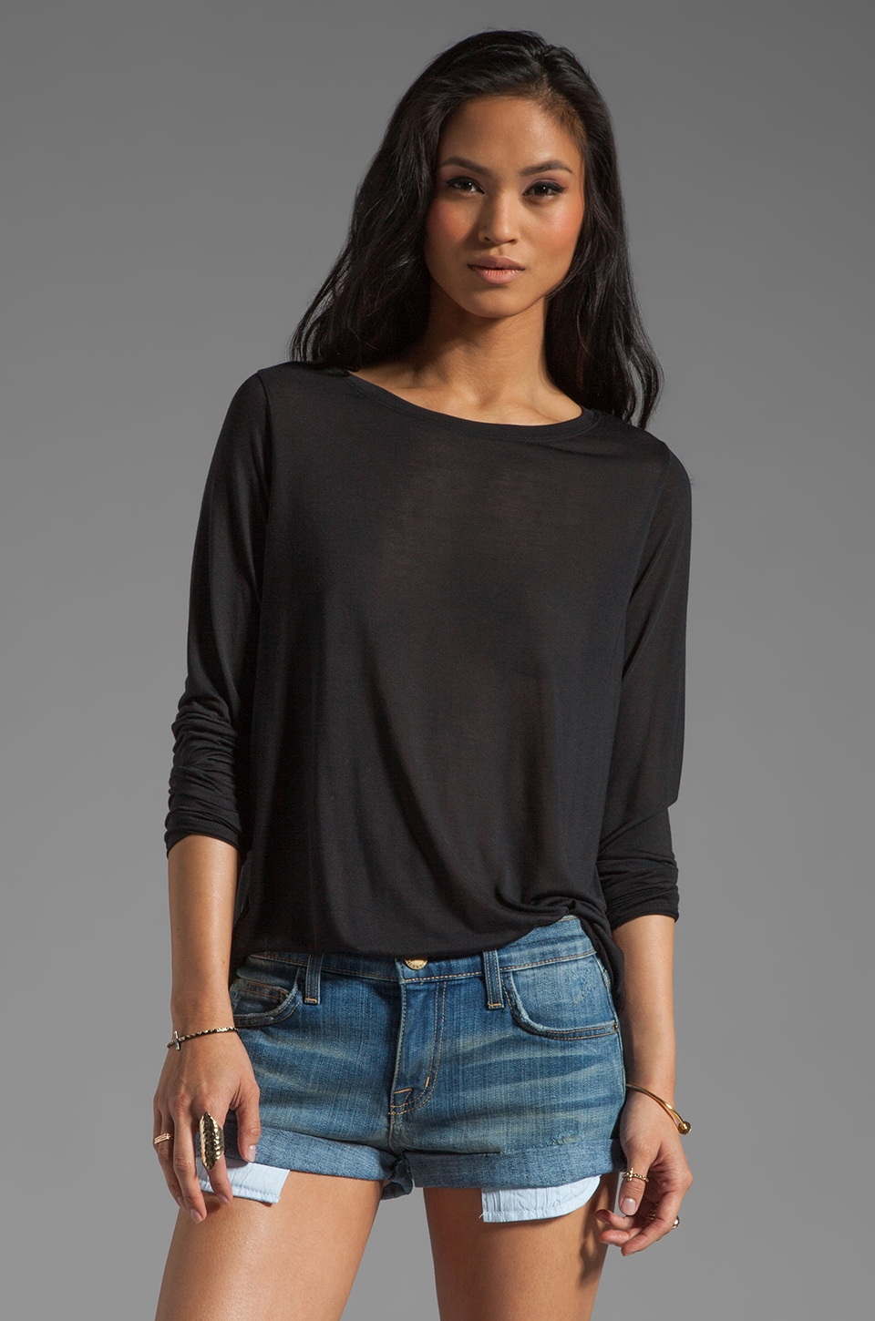 Vince Mixed Media Tees Silk L/S in Black
