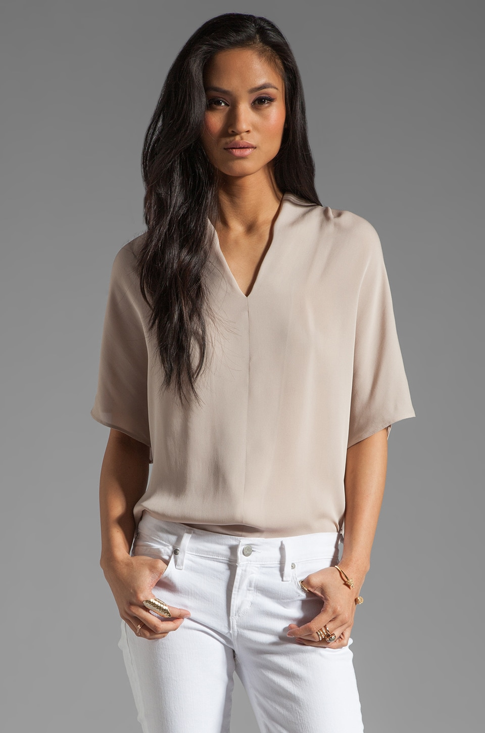 Vince Silk Drape Neck Top in Ghost