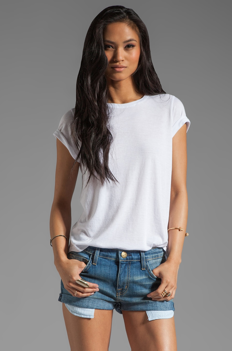 Vince Basic Tees Shirt Tail S/S Tee in White