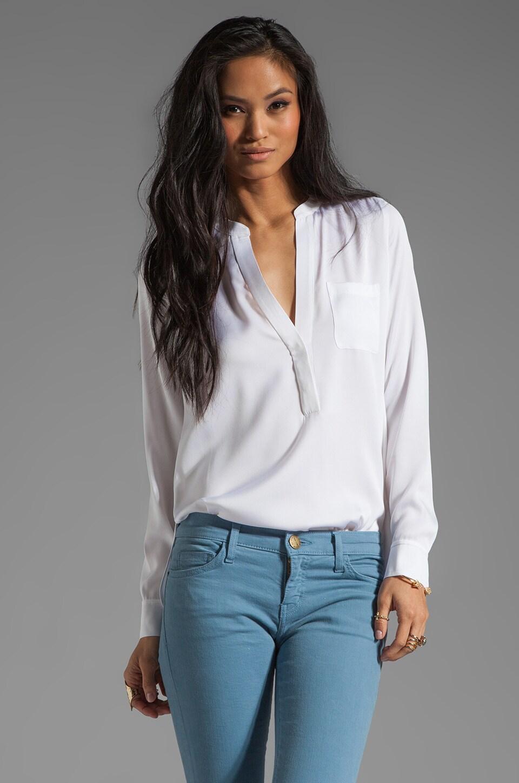 Vince Silk Half Placket Pocket Shirt in White
