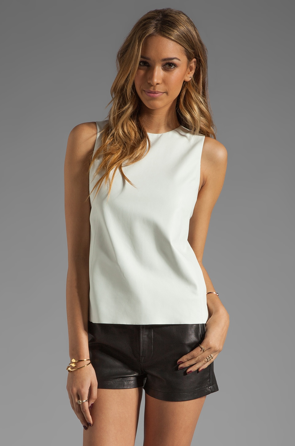 Vince Leather Sheer Back Shell in White