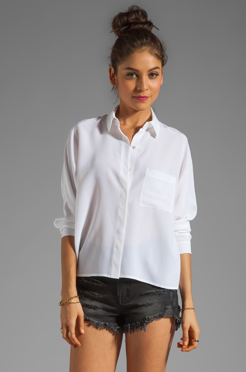 Vince Silk Doman Top in White