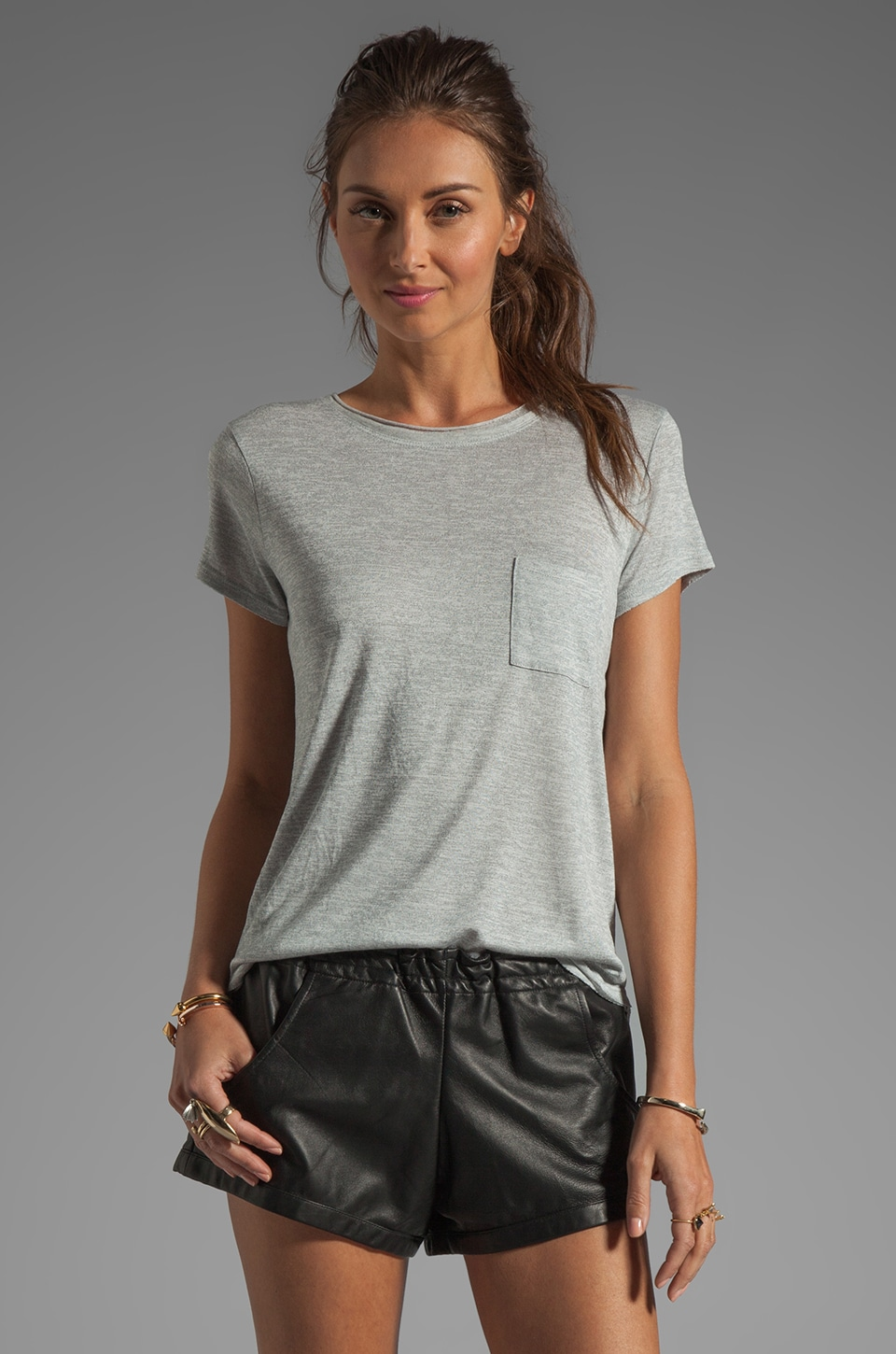 Vince Pocket Tee in Heather Silver
