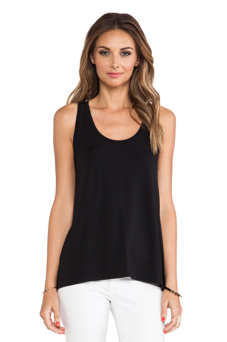 Vince Drape Hem Tank in Black