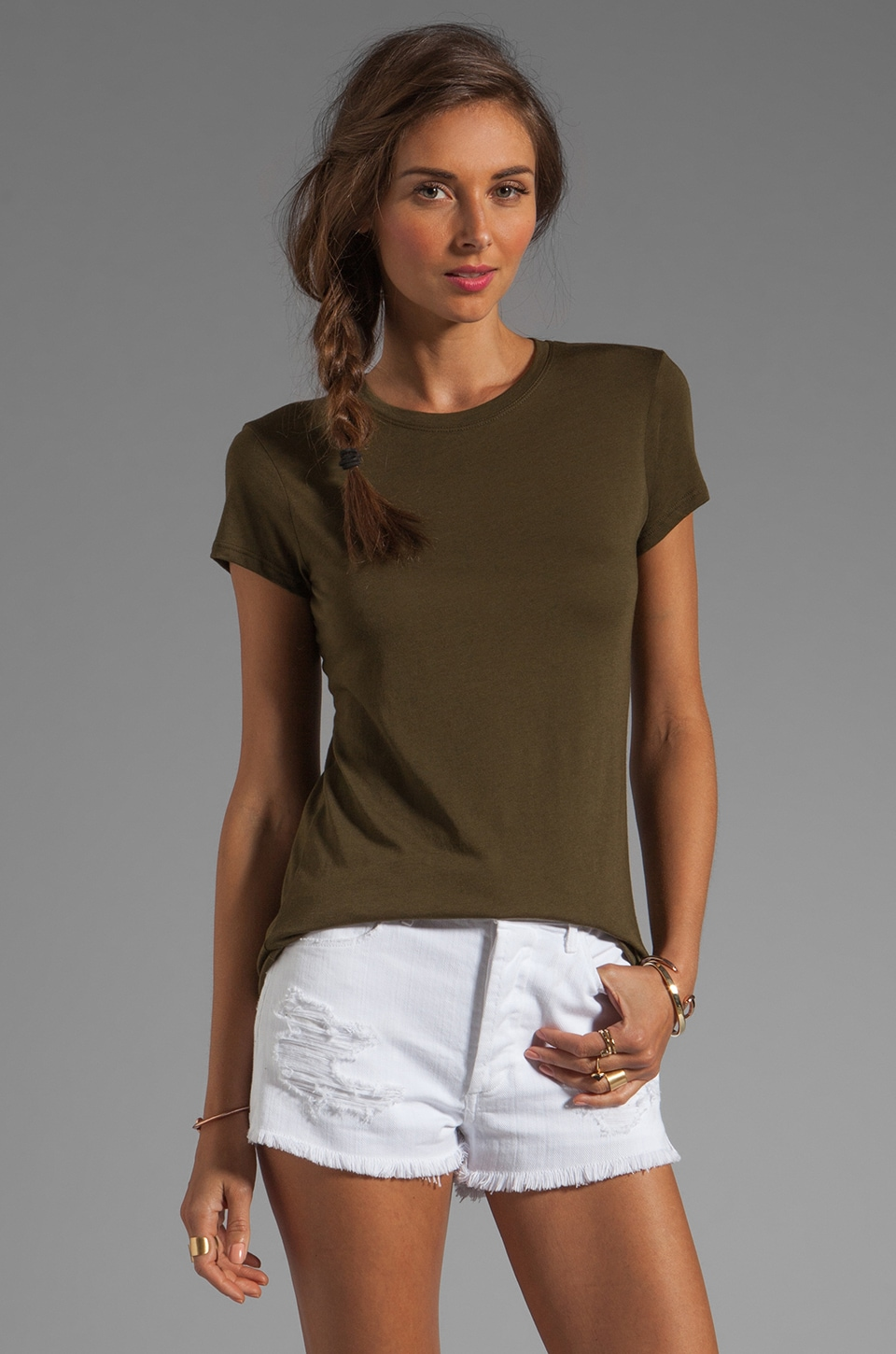 Vince Little Boy Tee in Dark Olive