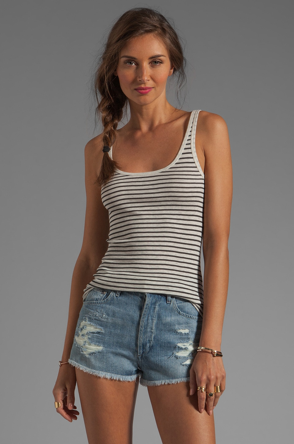 Vince Striped Favorite Tank in Heather White and Black