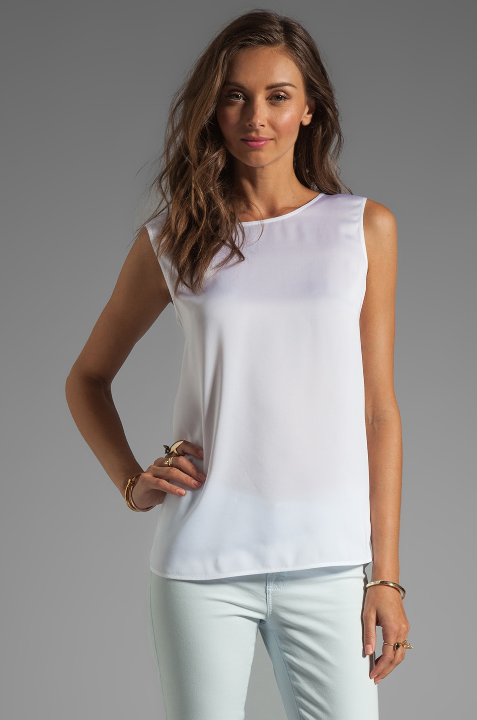 Vince Silk Cross Back Tank in White