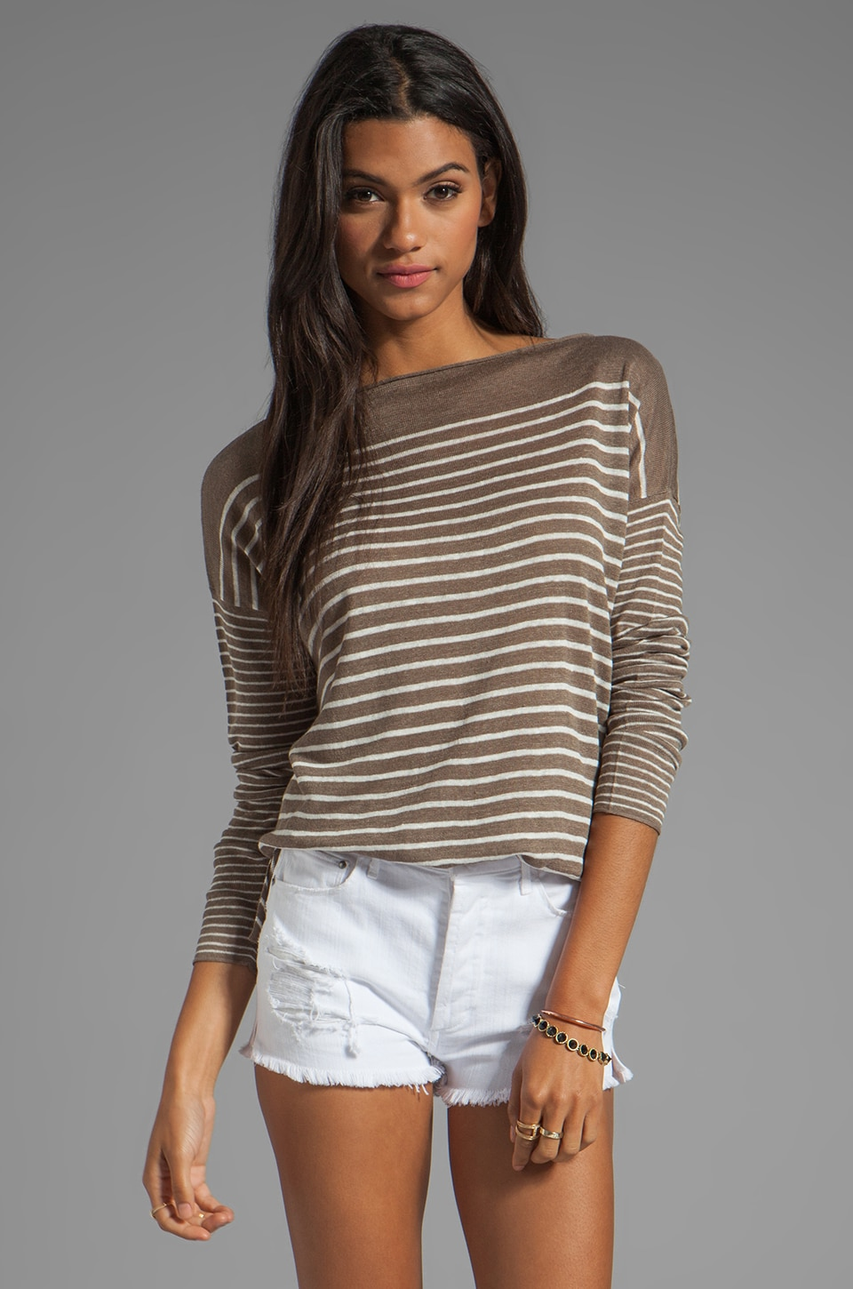 Vince 100% Linen Breton Striped Boatneck in Earth and Sailcloth